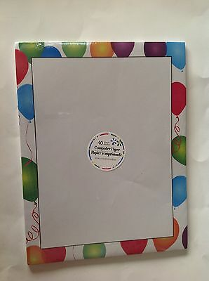 "Computer Printer Paper New Package 40 Sheets Balloons 8.5""x11""  Home Office"