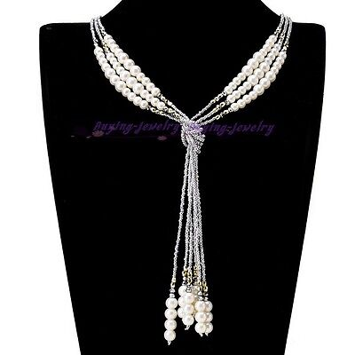 Women Fashion Style Gray Beads White Pearl Chain Gray Crystal Jewelry Necklace