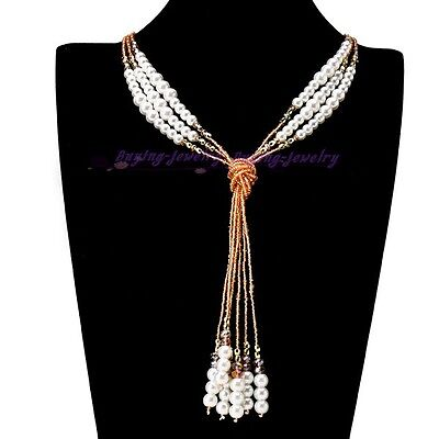 Charm Fashion Style Orange Beads White Pearl Chain Pink Crystal Jewelry Necklace