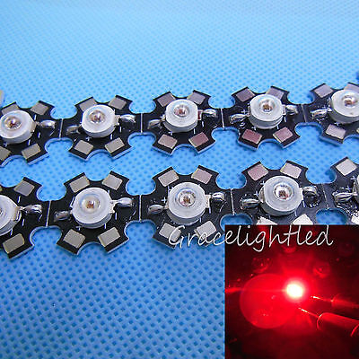 50pcs 3W Red 650-660nm High Power LED Bead + 20mm Star PCB Base for Growth DIY