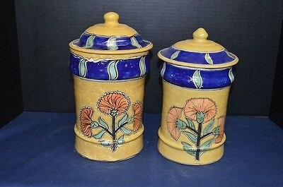 Fine Vintage Pair of Mexican Ceramic Covered Jars