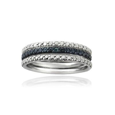 925 Silver Blue Diamond Accent Stackable Eternity Band Rings Set