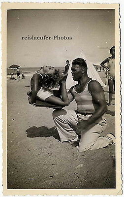 Artistenfamilie am Strand, Original-Photo um 1930