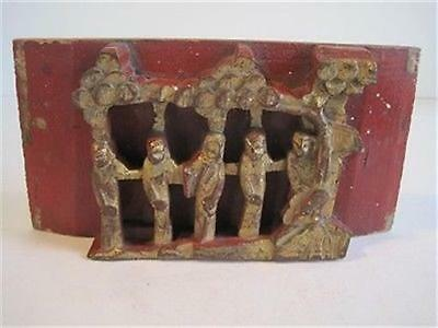 Wooden Vintage Hand Carved Asian Architectural Gilt Red Panel Plaque Chinese