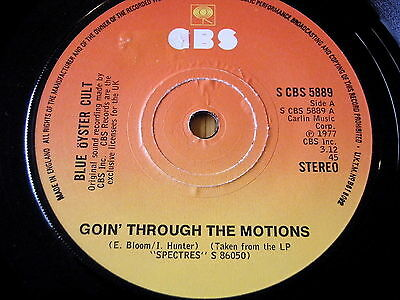 """Blue Oyster Cult - Goin' Through The Motions    7"""" Vinyl"""