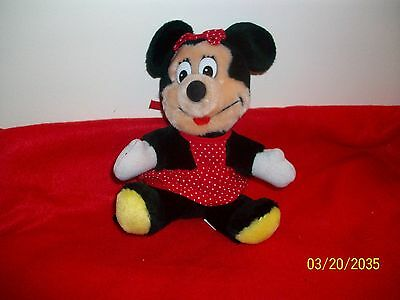 Disneyland World Minnie Mouse Plush vintage Red Dress Stuffed Animal from 80s