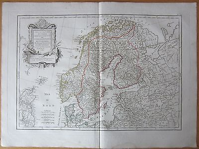 Lattre/Janvier: Large Map Scandinavia Norway Sweden Finland - 1787