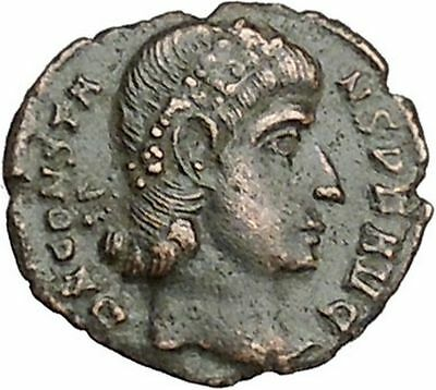 CONSTANS Constantine the Great son Ancient Roman Coin Wreath of success i41004