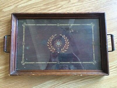 Antique VTG Wood frame serving Tray Metal Handles Holds 10x16 Print Picture