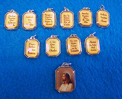 Padre Nuestro PRAYER in SPANISH -  Charms for Bracelet /Necklace~NEW~11 pieces