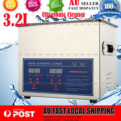 Multipurpose Professional Ultrasonic Cleaner 3 L Jewelry Watch Timer Heater AU