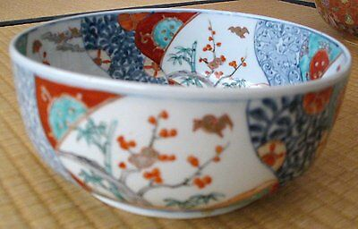 Japanese Antique Imari Bowl with Floral and Bird Design