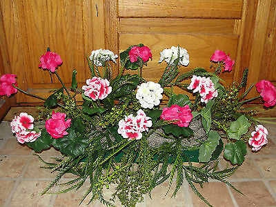 "Silk Flowers Fuschia Pink White Geraniums Greens Arrangement for 18""+ Window Box"