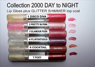 Collection 2000 2 step LIP GLOSS DAY to NIGHT glitter shimmer TOP COAT lipgloss