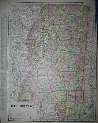 1900 Mississippi Antique Color Atlas Map** indexed with Population .118 Yrs-Old!