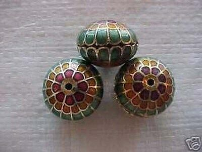 12 Green & Gold 16x20mm Cloisonne Beads.  NG1
