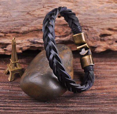 S509 Retro Classic Genuine Leather Braided Bracelet Wristband Men's Cuff Black B