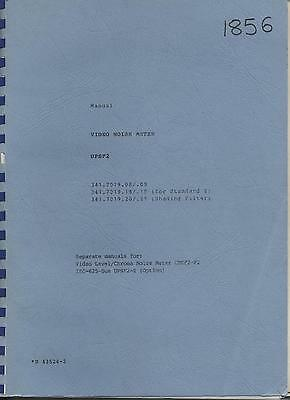 Rohde & Schwarz UPSF2 Video Noise Meter Operating Manual Loc RS66