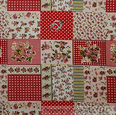 BonEful FABRIC FQ Cotton Quilt White Green Pink Red Rose Flower Xmas Calico Dot