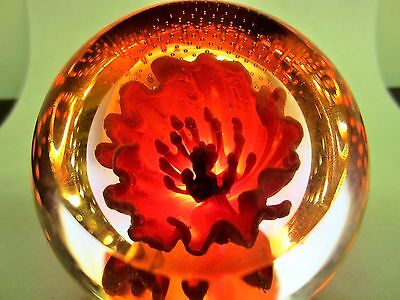 Caithness Glass Paperweight Floral Charms RED POPPY