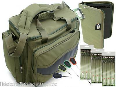 Green Carp Fishing Tackle Bag Holdall + RIG WALLET 18 HAIR RIGS + 4pc tools Set