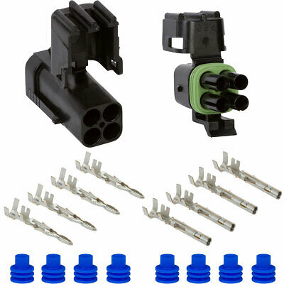 Weather Pack 4 Pin Square Connector Kit 12 GA