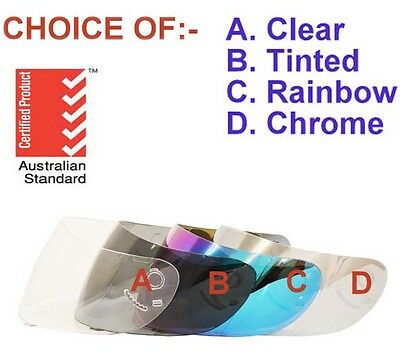 Visor For Full Face Motorcycle Road Helmet Choice Clear, Tinted, Rainbow, Chrome