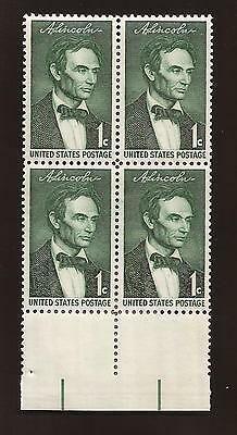 U.S.A.  US beardless ABRAHAM LINCOLN 1 cent postage stamp block