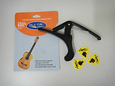 One-handed Quick Change Classical Guitar Capo,Black + 3 free picks - Clearance