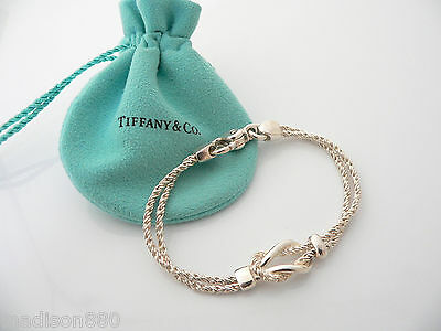 860423db4 Tiffany & Co Silver Double Rope Love Knot Bracelet Bangle Rare 7.75 Inch