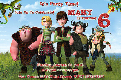 How To Train Your dragon Birthday Party Invitations CUSTOM PERSONALIZED s049