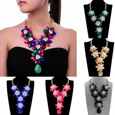 Hot Fashion Long Jewel Charm Color Resin Rhinestone Flower Shape Collar Necklace