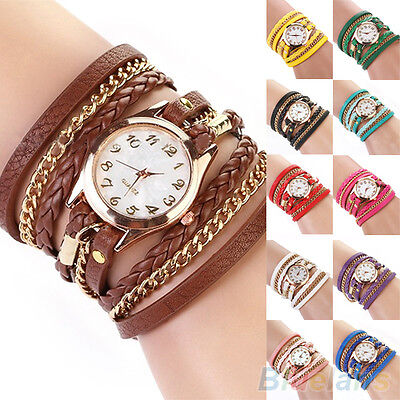 Women's Charm Chic Candy Vintage Weave Wrap Rivet Leather Bracelet Wrist Watch