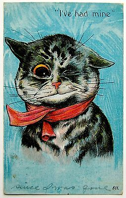 WAIN CAT with Red Bow Winks I'VE HAD MINE Postcard EMB