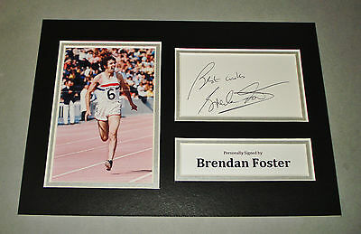 Brendan Foster Signed A4 Photo Display Olympics 76 Autograph Memorabilia +COA