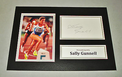 Sally Gunnell Signed A4 Photo Display Track & Field Autograph Memorabilia + COA