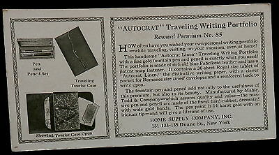 "Blotter ""AUTOCRAT"" TRAVELING WRITING PORTFOLIO Home Supply Co ILLUSTRATIONS"