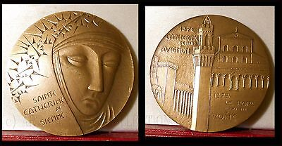 French Bronze Medal by Emmel Saint Catherine of Sienna