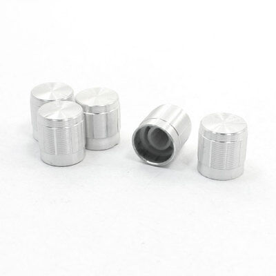 5 x Volume Control Rotary Knobs Silver Tone for 6mm Dia Shaft Potentiometer