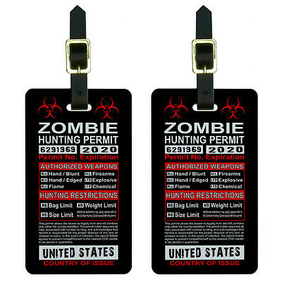 United States Zombie Hunting License Permit Luggage Suitcase ID Tags Set of 2