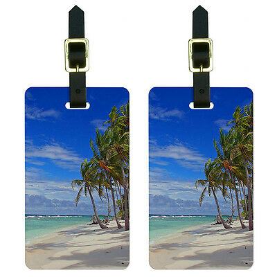 Tropical Beach - Island Sky Clouds Vacation Luggage Suitcase ID Tags Set of 2
