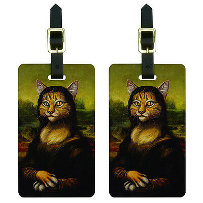 Meowna Lisa - Cat Mona Leonardo da Vinci Painting Parody Funny Luggage Tags Set