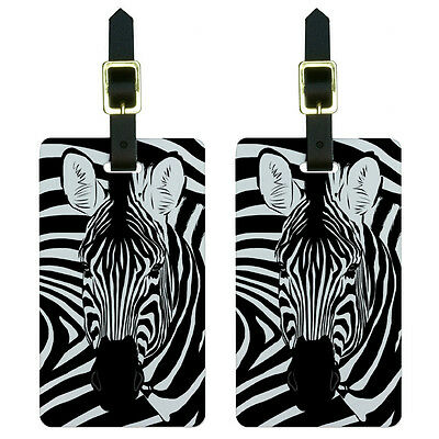 Zebra Safari Black White Animal Print Luggage Suitcase Carry-On ID Tags Set of 2