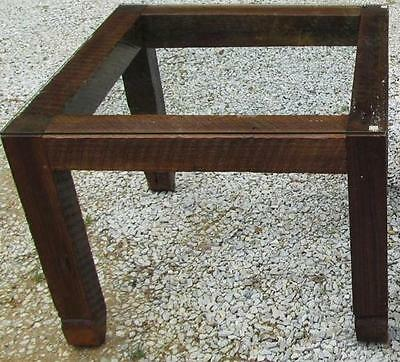 Vintage Reclaimed Barn Wood End Table w/Glass Top