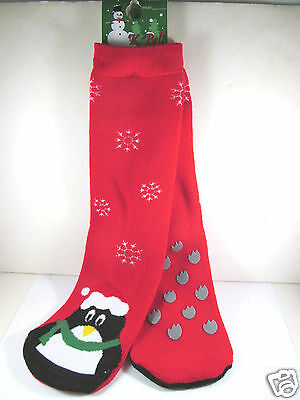 Black Bell Womens Penguin Mistletoe Christmas Slipper Socks K