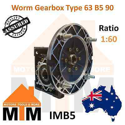 Worm Gearbox Type 63 B5 90 Input Flange 1:60 Ratio 60 Reduction