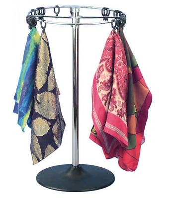 AYS Retail Scarf and Handkerchief Product Spinner Counter Display Rack (Chrome)
