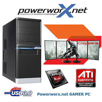 GAMER KOMPLETT PC AMD APU A10-7700K 4x3.40GHz 8GB 1TB Radeon R7 Graphik COMPUTER
