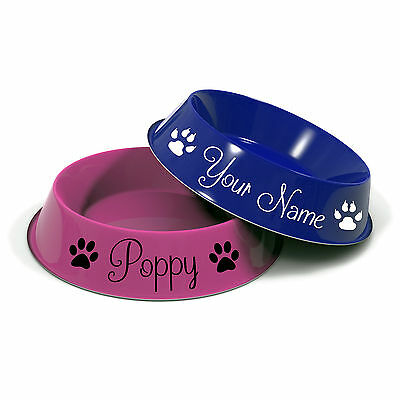2 x Personalised Pet Name Stickers With Paw Prints For Dog Cat Food Bowl Dish