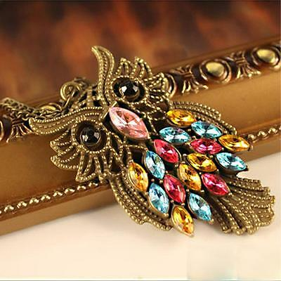 Vintage Bronze Colorful Rhinestones Hollow Out Owl Cute Pendent Chain Necklace
